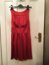 Red Satin Effect Evening/Party/holiday Dress Size 10