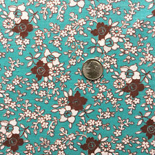 Vintage Partial Feed Sack Lovely Small White & Brown Floral on Aqua  21