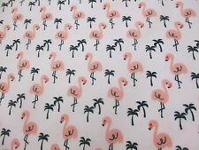 Blanco Y Rosa Flamenco Pájaros Estampado Polialgodón Manualidades Telas