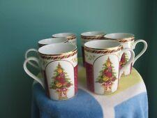 Royal Albert Old Country Roses Set of 6 Mugs Seasons of Colors Topiaries