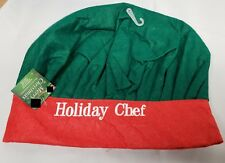 1 Polyester Christmas Holidays Chef Hat, Green & Red, one size fits all