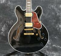 Starshine Semi Hollow Body 335 Electric Guitar Beauty Black Gold Hardware