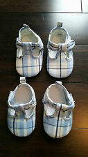 BABY BOY SET OF 2 BABY SHOES BLUE WHITE PLAID NEWBORN AND 6 MONTHS