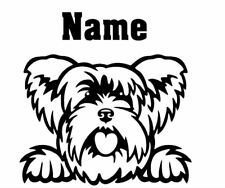 Yorkshire Terrier Peeking with Name car window decal