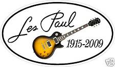 """6"""" oval Printed IN memory of Les Paul Decal Gibson guitar - sticker"""