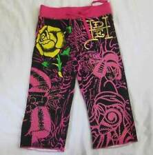 ED HARDY girls kids 6 6X flower capri cropped pants black pink casual NEW
