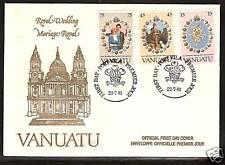 VANUATU # 308-310 PRINCESS DIANA ROYAL WEDDING FIRST DAY COVER