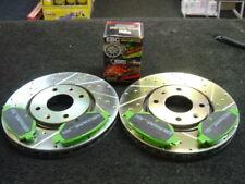 PEUGEOT 206 GTI 180bhp BRAKE DISC CROSS DRILLED GROOVED EBC GREEN STUFF PADS