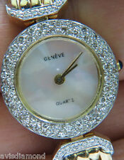 █$4500 VIDEO ESTATE 14KT LADIES GENEVE 1.50CT DIAMONDS WATCH █