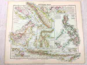 1907 Antique Map of Indonesia Sulawesi Java Sumatra Philippines Borneo Manila