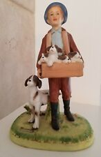 "1980 Norman Rockwell ""Puppy Love"" Child w/ Dog & Holding Box of Puppies Figurine"