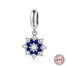 💖💖 Snowflake Blue Charm Bead Genuine 925 Sterling Silver Fits Bracelet 💖💖
