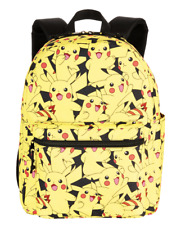 """Pokemon Pikachu All Over Print 16"""" Backpack School Book Bag Tote NEW"""