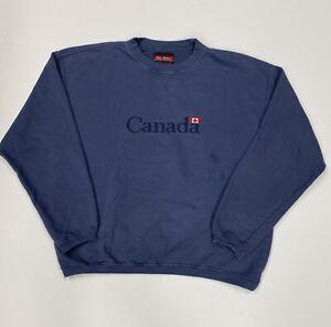 Vintage Canada Men's Wild Stallion Sweatshirt Blue Size Large