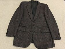 Burberry Blazer Jacket Sport Coat 100% Wool Glen Plaid Blue Overcheck Tweed 42R