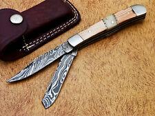 Rody Stan HAND MADE DAMASCUS DUAL BLADE FOLDING POCKET KNIFE - NON LOCK -MP-6521