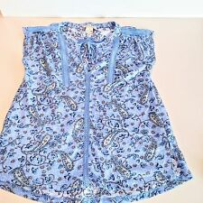 Lucky Brand Womens Top Peasant Paisley Split Neck Short Sleeve Shirt Boho XS
