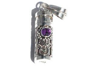 New 925 Sterling Silver Amethyst Cylinder Prayer Box Pendant 1 3/8 Inch