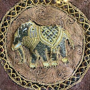 Antique Burmese Kalaga Tapestry Elephant beaded sequins Good cd shadow box frame