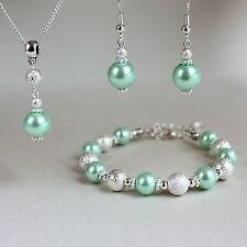 Light mint green pearl necklace earrings silver wedding bridesmaid jewellery set