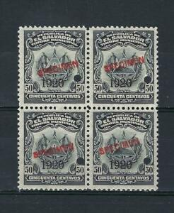 El Salvador 1920 Specimen 50 centavos Revenue municipal block 4 MNH