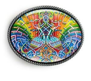 Colorful Celtic Peacock Men Women Handmade Artisan Belt Buckle