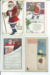 Lot of 4 Santa Claus Postcards Holiday Christmas
