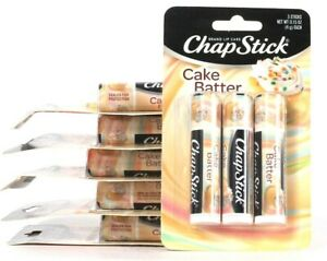 6 Packs ChapStick Brand Lip Care Cake Batter 3 Count Sticks Paraben Free
