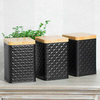 Set of Black Square Geometric Tea Coffee Sugar Canisters Storage Containers Jars