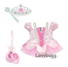 "Lt Pink Classic Ballet Shoes Tiara Wand Set for 18"" American Girl Doll Clothes"