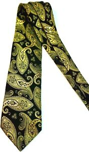 Rare Brioni Tie Paisley 61% 24k Gold Thread Black 10028 Made in Italy Silk