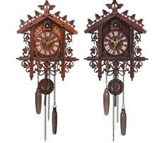 VINTAGE WOOD CUCKOO WALL CLOCK HANGING HANDCRAFT CLOCK FOR HOME RESTAURANT DECOR