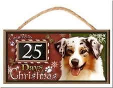 """Australian Shepherd Dog """"Holiday Countdown"""" Dog Sign / Plaque featuring the art"""