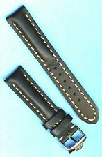 PRE TAG HEUER BUCKLE & 20mm GENUINE BLACK LEATHER STRAP BAND WHITE STITCH PADDED