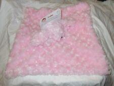 "Blankets & Beyond Pink Bunny Rabbit 15x15"" Lovey Security Blanket NuNu Sherpa"