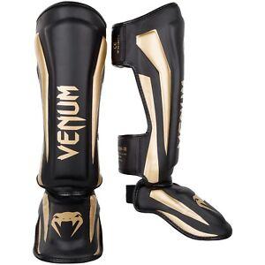 Venum Elite Standup Shinguards - Black/Gold,Gr. M-XL,100%Skintex-Leder,Muay Thai