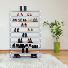 10 Tier Shelf Shoe Storage Rack Adjustable Organiser Stand Cupboard Metal Tube
