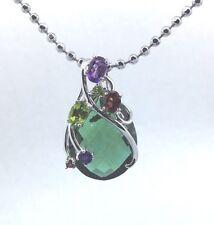 925 Sterling Silver Green Quartz Peridot Amethyst  Garnet Pendant P2253