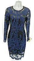 ❤ LIPSY LONDON Size 10 (US 6/EU 38) Black Blue Lace Occasion Dress NEW RRP £85