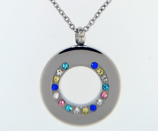 Multicolored Circle Of Life Pendant Cremation Jewelry Keepsake Urn Necklace