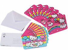 NEW 16 Hello Kitty Party Invitation Cards+Envelopes+Thank you postcards Set