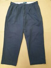 EE114 MENS RALPH LAUREN BLUE COTTON STRAIGHT LEG ZIP FLY TROUSERS W38 L28