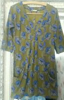 White Stuff Ladies Olive Green Leaf Print Hippy Boho Cotton Mix Tunic Dress UK 8