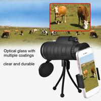 40X60 HD Mini Monocular Telescope BAK4 + Phone Clip Tripod Outdoor Night Vision