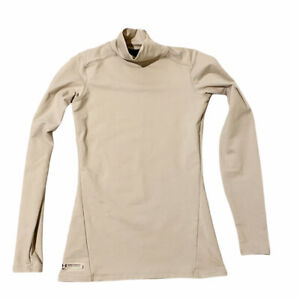 Under Armour Fitted Womens Cold Gear Beige Mock Neck Long Sleeve Top Size Small