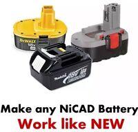 Battery Fix Ni-cd Or Nicad Bosch Ryobi Dewalt Makita 24v 18v 14,4v 12v 9,6v 7,2v