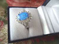 Vintage Art Deco Jewellery  Sterling Silver Opal Sapphire Ring Antique Jewelry