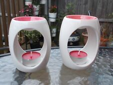 BEAUTIFUL PAIR OF CERAMIC TART WAX MELT OIL BURNERS + TEA LIGHTS HOME / GARDEN