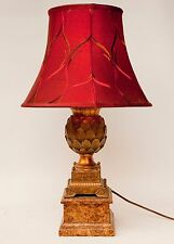 GOLD EMPIRE STYLE ARTICHOKE LAMP ON FAUX MARBLE BASE