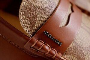 NIB $228 COACH Size 11.5 Men's Saddle Leather MOTT DRIVER Khaki SIG Moc Loafer